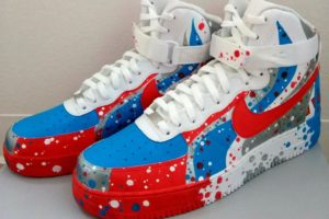 Image of Heather Gorton Red White and Blue Custom Air Force Ones Shoes